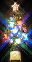 60cmNEWファイバーツリー(グリーン)+ELリボン+LED(ハート+ベアー)<br />DXファイバー
